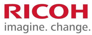 """Logo rouge et gris de Ricoh avec pour baseline """"Imagine. Change."""""""