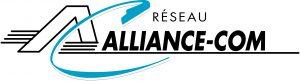 """Logo bleu et noir sur lequel est écrit """"Réseau Alliance-Com"""""""