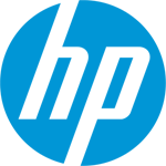 Logo blanc et bleu de HP