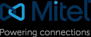 """Logo bleu et gris de Mitel avec pour phrase d'accroche """"Powering connections"""""""