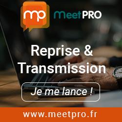 """En fond d'image, des mains pianotent sur une clavier d'ordinateur portable. En haut le logo MeetPro. Au centre les terles """"Reprise & Transmission"""". Dessous un bouton """"je me lance"""". Tout en bas l'adresse du site www.meetpro.fr"""